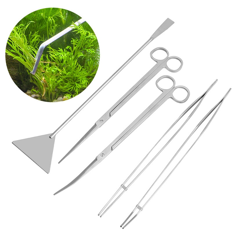 Aquarium Aquatic Maintenance Tools Kit Long Handle Tweezers Scissors Trim Tool Kits Set For Live Plants Grass