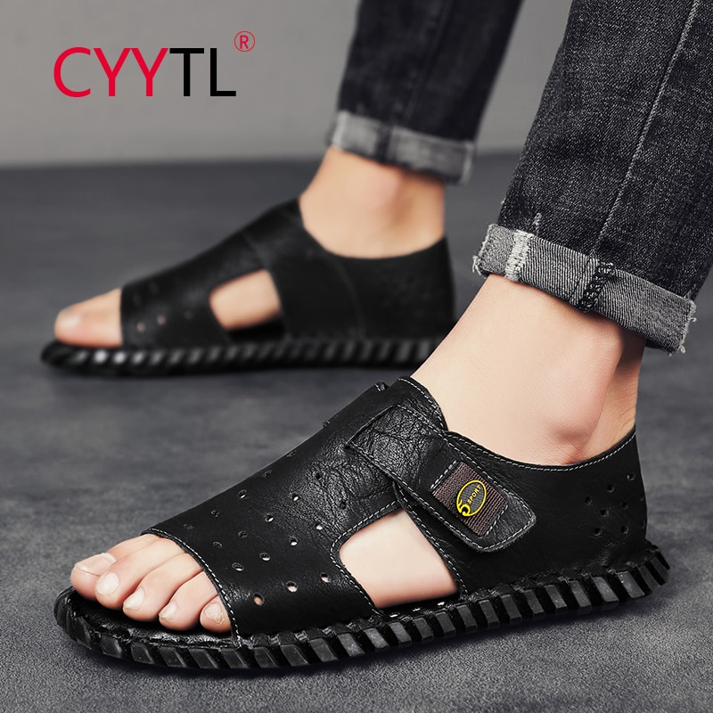 CYYTL New Men's Summer Fashion Sandals Casual Shoes Outdoor Beach Open Toe Leather Flats Slippers Breathable Handmade Slides