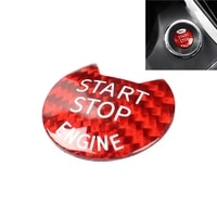 for infiniti nissan sunshine bluebird tiida car start stop engine push button cover redblack real carbon fiber trim sticker