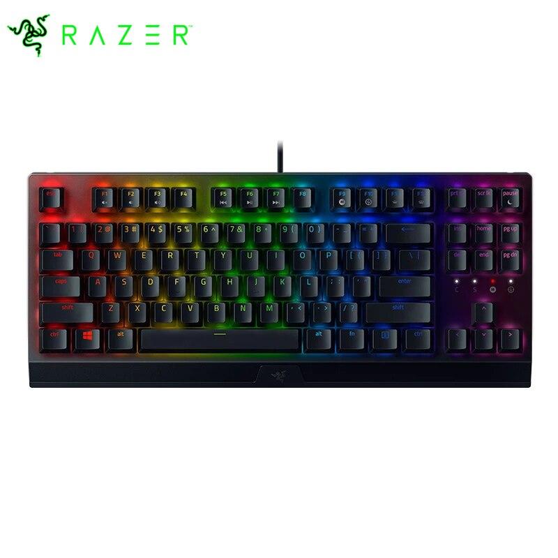 لوحة مفاتيح Razer BlackWidow V3 tenبدون مفتاح TKL للألعاب الميكانيكية-اللمس والكليكي-مصابيح يندمج بها اللون الأحمر والأخضر والأزرق-وحدات الماكرو القاب...