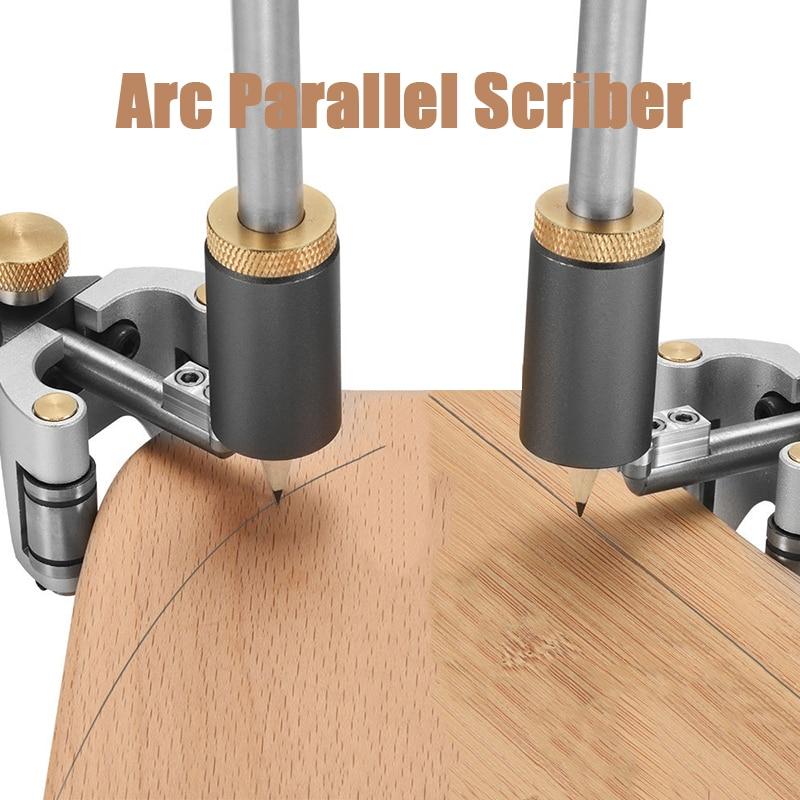 New Woodworking Linear Arc Dual-purpose Scriber Ruler Parallel Line Straight Line Drawing Measuring Gauge DIY Wood Scribe Tool