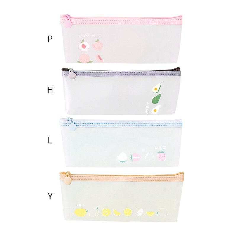 Simple Fruit Series Transparent Frosted Pencil Case Stationery Box School Office Supplies Creative Storage Bag Pencil Case  - buy with discount