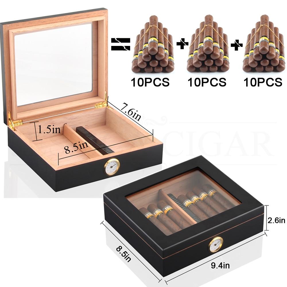 Cedar Wood Cigar Travel Humidor Box Portable Cigar Case W/ Humidifier Hygrometer Cigar Humidor Sigaren Box For COHIBA Cigars enlarge