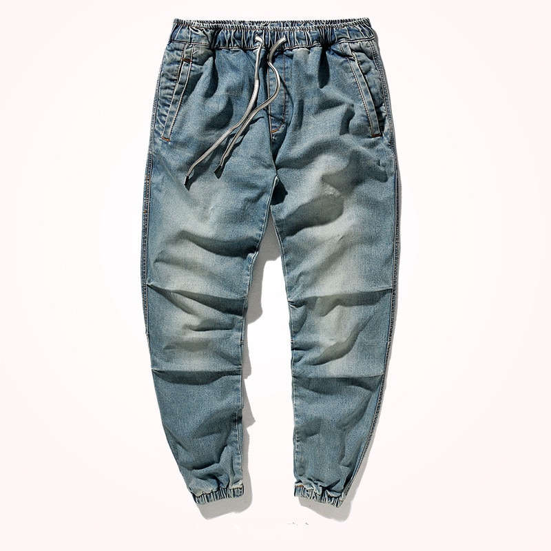 2021 New Retro Stretch Jeans Men's Fashion Loose Straight Moustache Effect Washed Old Nine-point Casual Plus Size Harem Pants