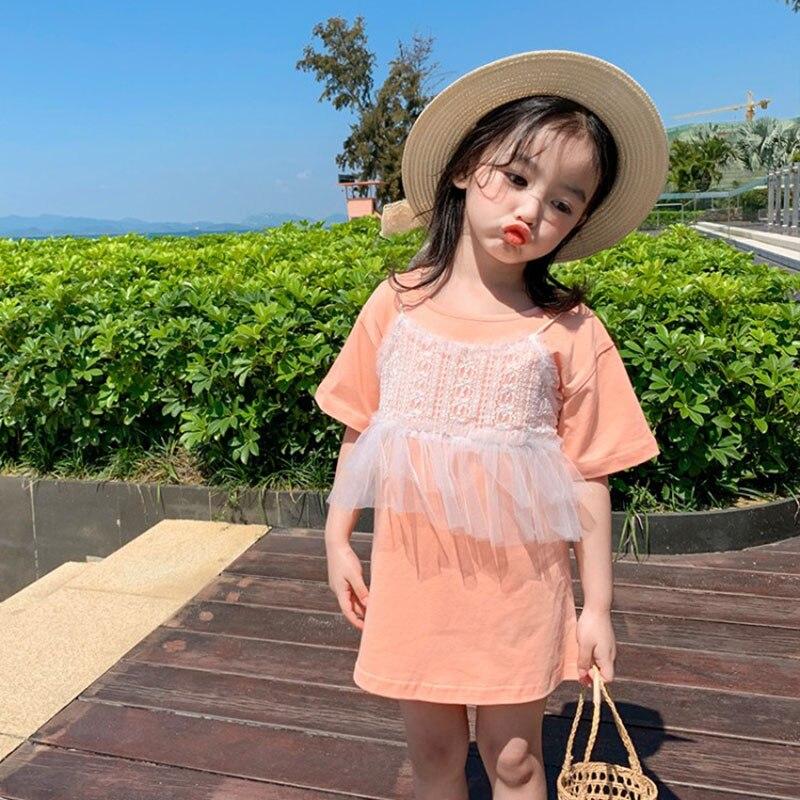 Vestido de verano para niñas, vestido para bebés, Camiseta larga para niños, ropa de moda para niños, Parche de dos tirantes encaje fruncido de 1 a 7 años