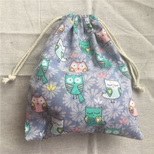 1pc Cotton Linen Drawstring Pouch Party Gift Bag Owls Purple Flower Base YL2033b
