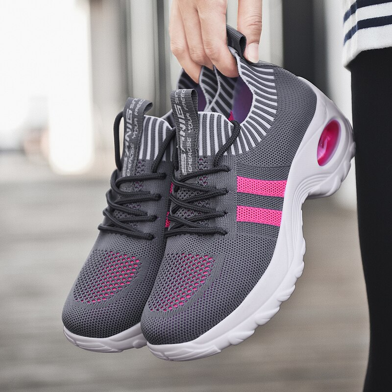 Sneakers Women Tennis Shoes Air Cushion Comfortable Female sports Shoes Height Increasing Platform Sport Lace-up Tenis Feminino