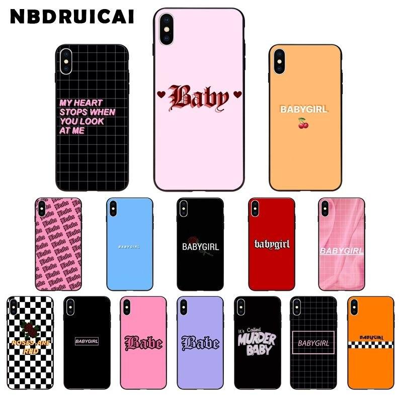 Nbdruicai babe babygirl mel linha texto arte de luxo design exclusivo caso telefone para iphone 11 pro xs max 8 7 6 s plus x 5 5S se xr