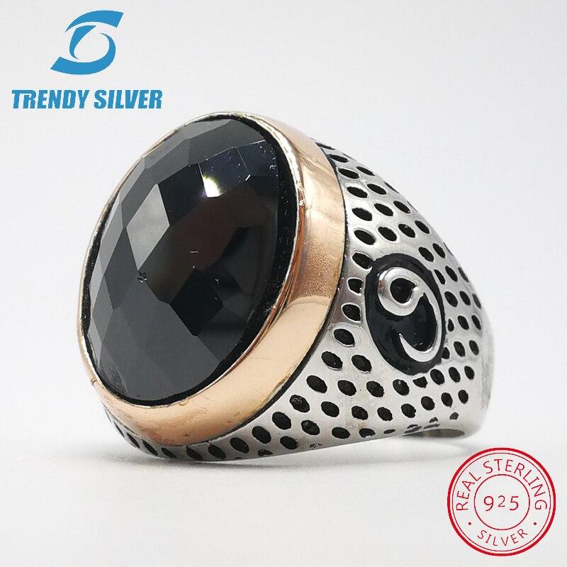 Plata 925 joyería fina hombre anillos hombres Accesorios negro CZ oval circón al por mayor alta calidad moda plata TCR8043-B