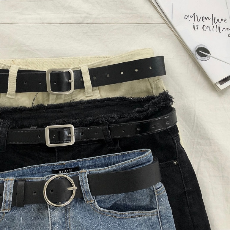 2020 New South Korea Ins Harajuku Style Versatile Personality Simplicity PU Leather Belt Men Student