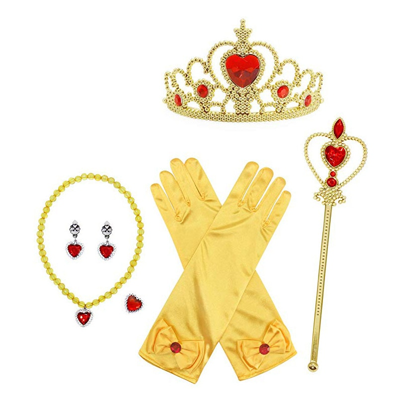 6 7 pièces/lot accessoires congelés princesse Anna habiller filles Cosplay jouets couronne collier anneau boucle doreille baguette gants enfants ensemble de bijoux
