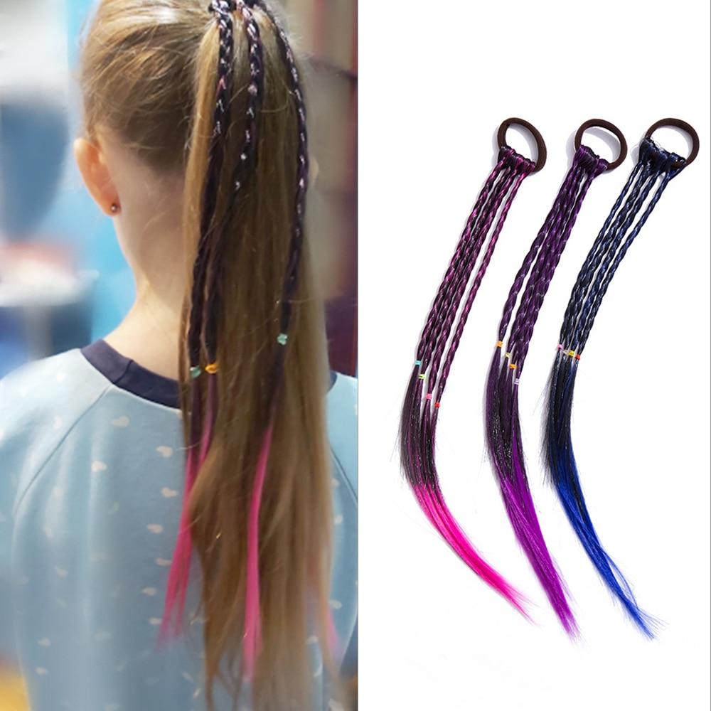 Новинка симпатичная эластичная резинка для волос для конского хвоста красочная плетеная тесьма модные повязки для волос для девочек повязки на голову для принцессы Детские аксессуары для волос