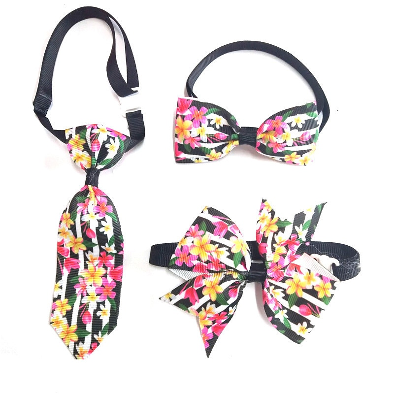 10sets New Colorful Flower Pet Bow Tie Necktie Holiday Dog Adjustable Necktie Pet Puppy Supplies Dog