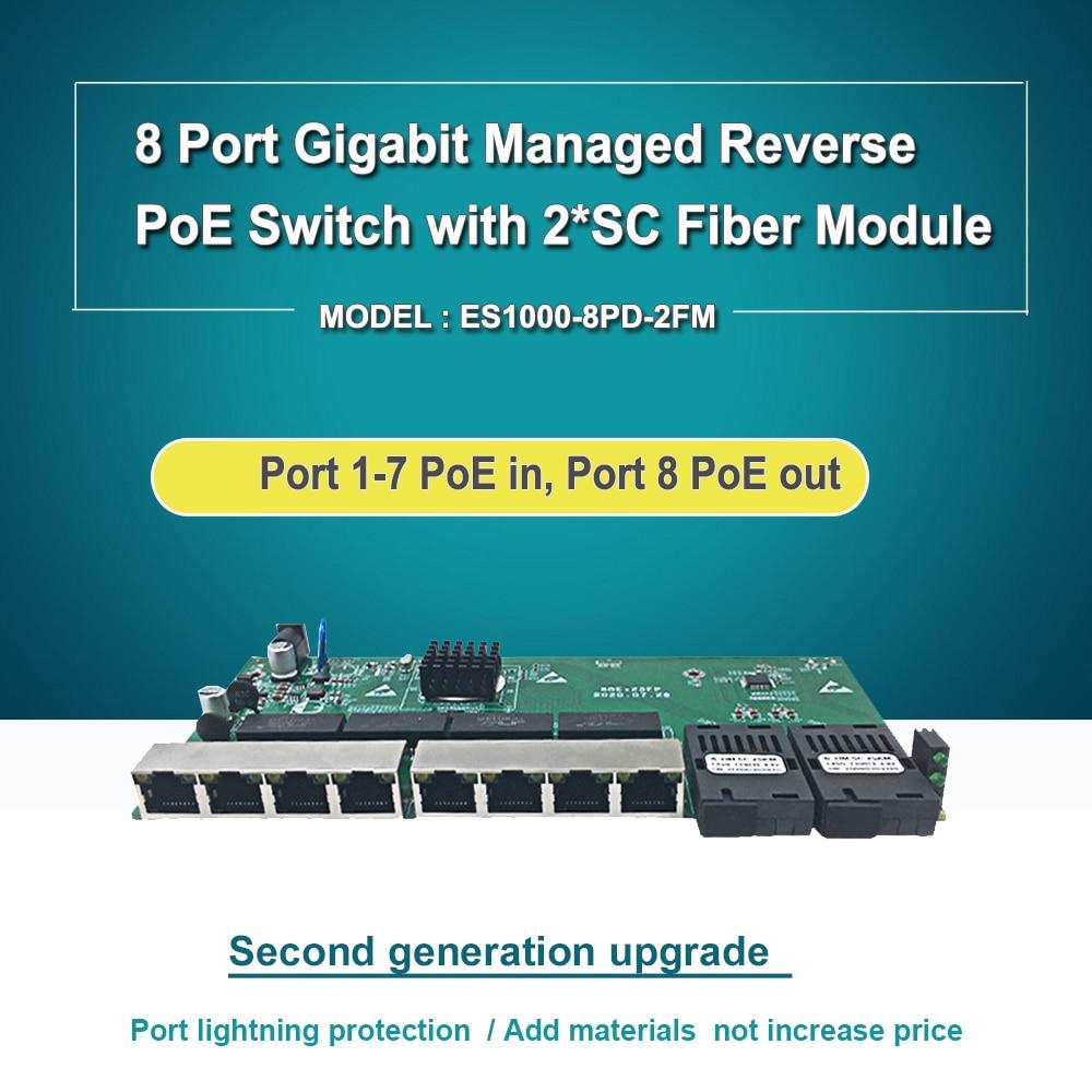 Фото - 8 port Gigabit web managed reverse poe  switch PCB  2 SC fiber module reverse PoE switch with PoE out 24v 8 port gigabit managed poe switch 24v non standard poe web management switch