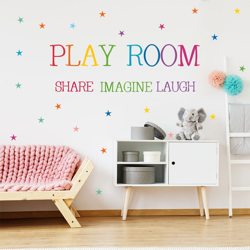 Купить с кэшбэком Colored pattern Play Room Wall Sticker kids rooms bedroom decorations wallpaper English proverbs Mural Removable stickers