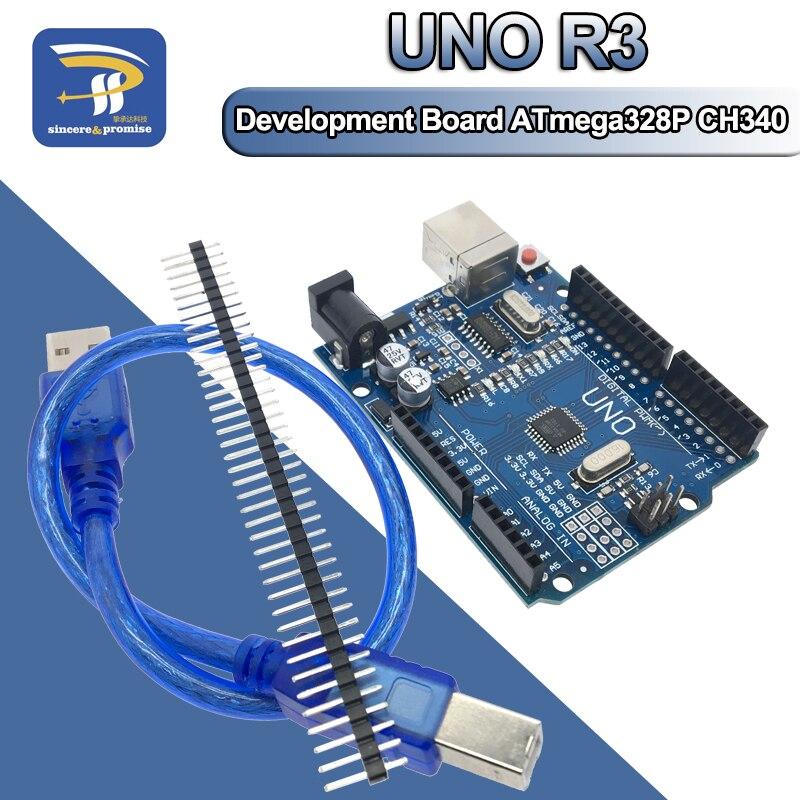 אחד סט UNO R3 (CH340G) MEGA328P עבור Arduino UNO R3 עם מקרה USB כבל ATMEGA328P-AU פיתוח לוח
