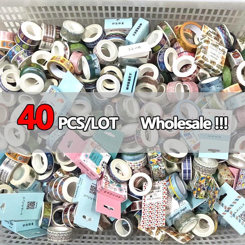 40 PCS/LOT Random Washi Tape Sets Wholesale Masking Adhesive Tape Diary Stationery School Supplies Kawaii Stickers Scrapbooking