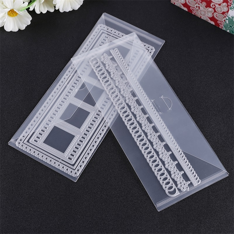 PVC Collection Bag 10Pcs/lot for Stamp and Slimeline Dies Storage Pockets for Crafters Size 10x24cm/3.9x9.4inch