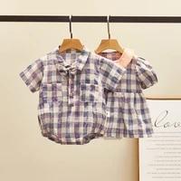 baby brother sister matching outfits 2021 summer infant girls cotton linen dresstoddler boys plaid romper korean newborn clothes