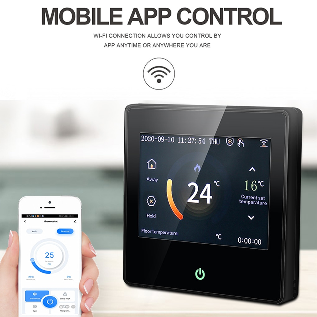Tuya Thermostat WiFi Smart Heating Temperature Controller LCD Touch Display Wireless Thermostat Supports APP Control Smart Life