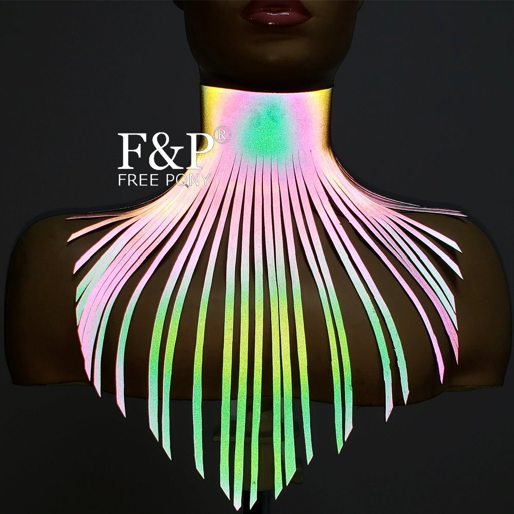 Gargantilla de cuero reflectante arcoíris con flecos largos collar llamativo con flecos disfraz de hombre ardiente accesorios de Halloween de Gogo Dancer
