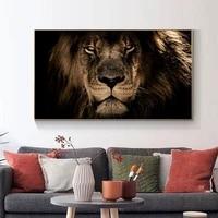 Peinture murale avec tete de Lion  affiche imprimee  image danimal  mode moderne  decoration de salon