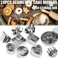 24pcs lot stainless steel geometry round square cookie cake mould diy ceramic pottery polymer clay craft cutting mold