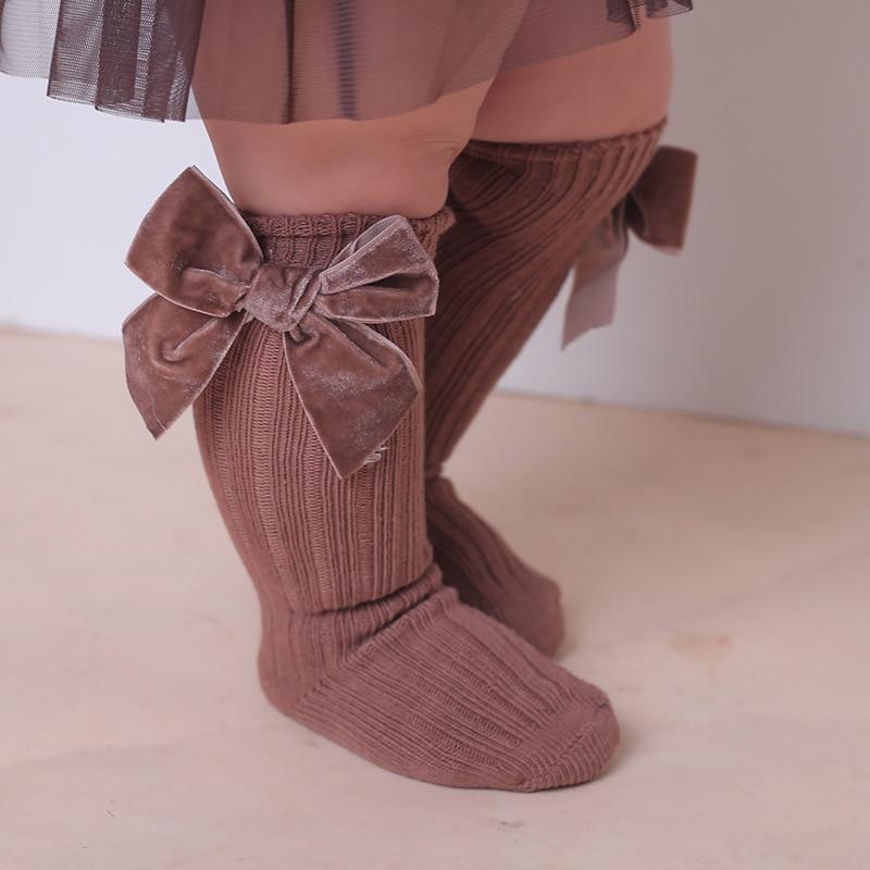 12pair/lot Infant Baby Girls Socks Newborn Toddler Knee High Socks Bow Knot Solid Cotton Stretch Autumn Winter Tights Leg Warmer