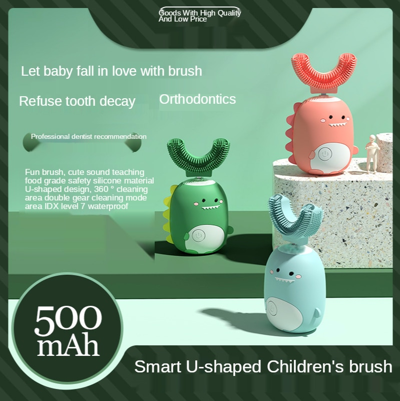 Smart U-Shaped Children 's Electric Toothbrush Waterproof and Portable Cartoon Pattern Tooth Brush metric pattern cutting for children s wear and babywear