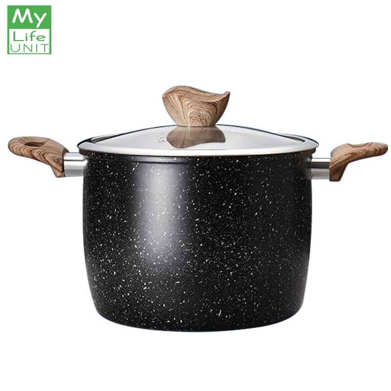 Maceta de sopa de piedra MyLifeUNIT Maifan, utensilios de cocina antiadherente, macetas de cocina de 16CM para cocina de Gas y inducción