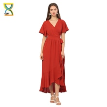 CGYY  New Vintage Long Summer Maxi Dresses For Women 2021 Ladies Solid Red V Neck Beach Sarongs Knit