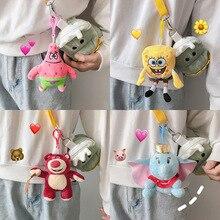 Cartoon dolls Plush Toy Key Chain Spongebob squarepants Doll Toy Keychains Animal dolls Toy Women Or Men Keyring for Car Keyring