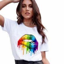 Cool Streetwear 여성 티셔츠 립 프린트 하라주쿠 티셔츠 여성용 여름 힙합 코튼 티셔츠 티셔츠 Femme Vogue Top