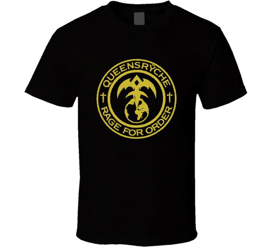 Queensrycheレイジから注文tシャツメンズブラックギフト新米国ヒップホップtシャツ