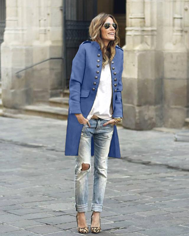 manteau femme Winter Coat Women Autumn Solid Button Long Sleeve Top Double-Breasted Long Coat abrigo