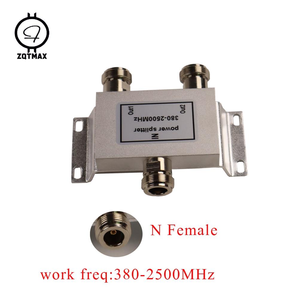 Divisor Coaxial ZQTMAX 1 a 2 vías 380-2500MHz 50ohm amplificador de señal de teléfono móvil repetidor divisor N hembra para amplificador 2G 3g 4g