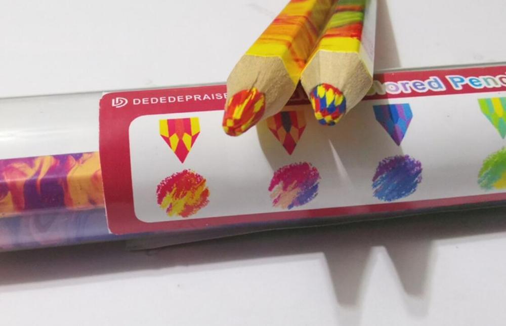 5 pc/set lápis de cor lápis de lápis de cor arco-íris lápis de desenho multicolorido plomo de arco íris cor do arco-íris