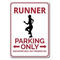 runner parking sign metal tin sign metal signrunner gift custom runner sign