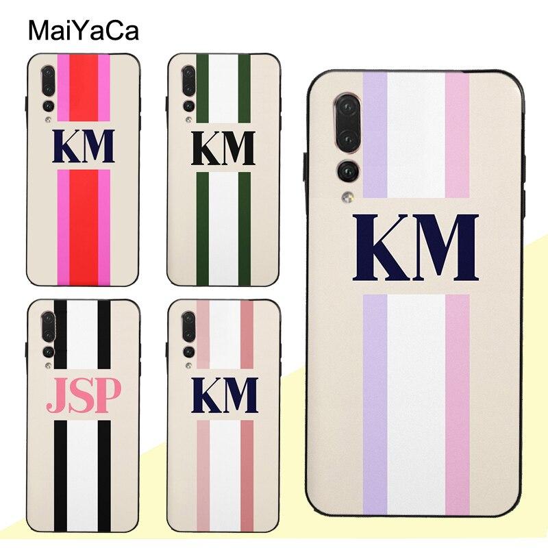 MaiYaCa, Monograma, raya inicial, nombre personalizado, funda para Huawei P Smart 2019 Z P10 P20 Lite P40 P30 Pro Mate 10 30 20 Lite