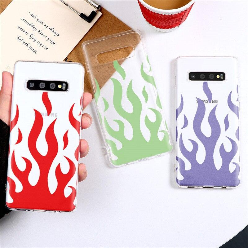 Funda con diseño artístico de llama para Samsung Galaxy S9 S8 S10 5G S20 Ultra Plus S5 Mini S7 S6 Edge Note 8 9 10 Pro Lite, funda de TPU