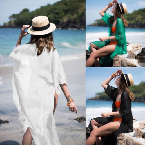Solid Beach Dress 2019 Women Sunshine Bathing Suit Female Cover-Ups Swim Suit Long Sleeve Beachwear