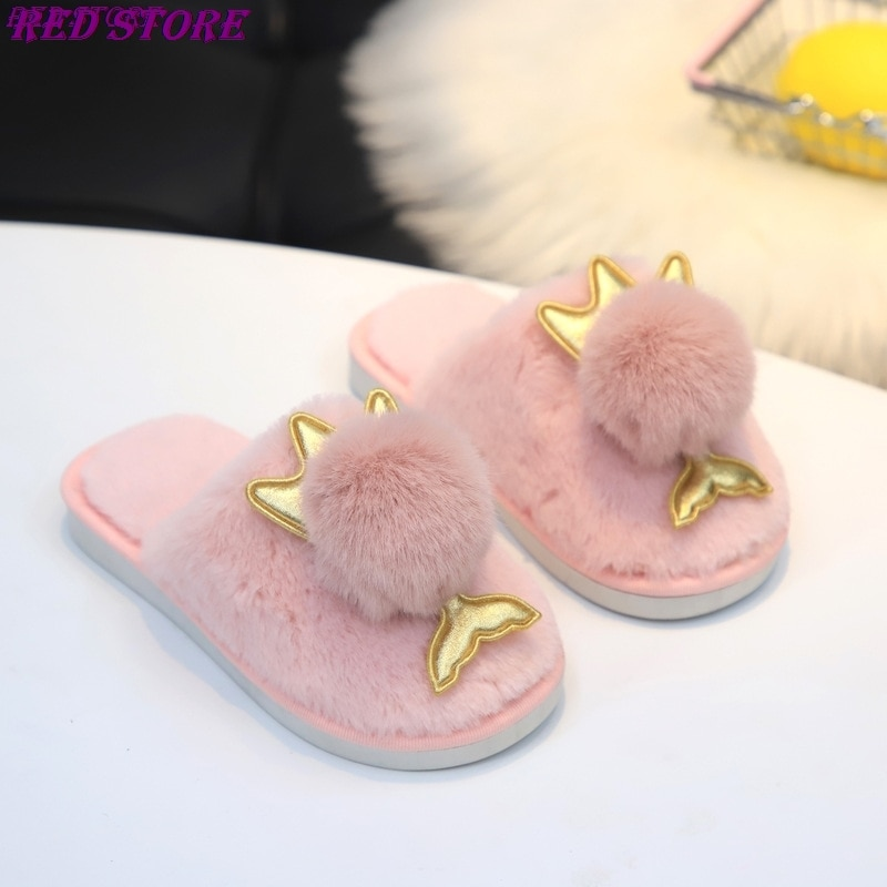 fur slippers Children's Home Plush Slippers Pompon Princess Style Girl Home Slippers Warm Indoor Shoes Fluffy Slides For Kids