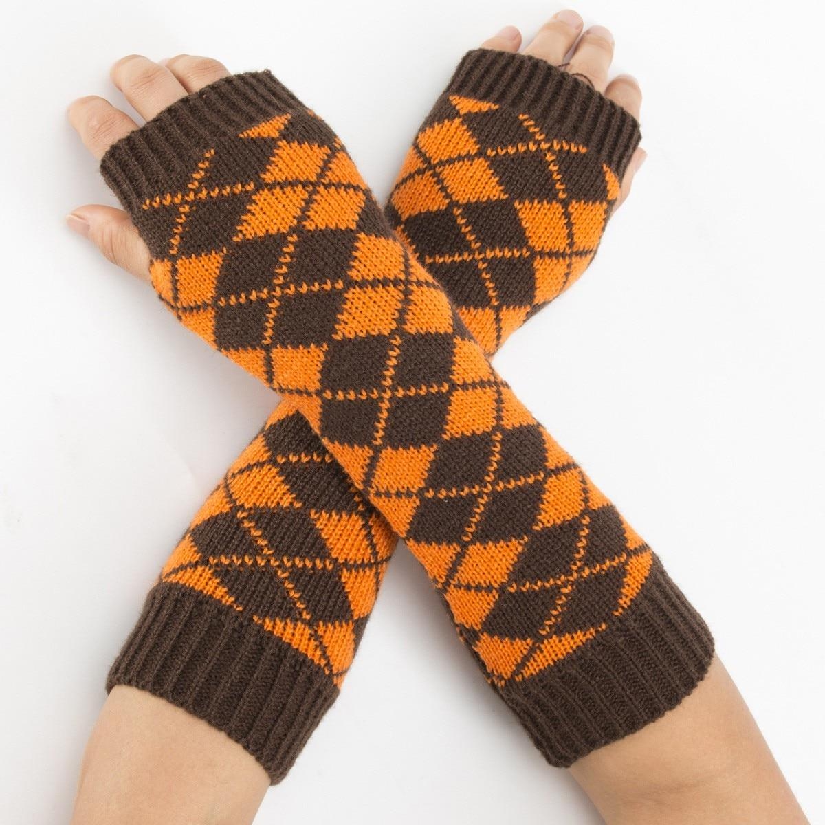 DeRuiLaDy 2019 New Fingerless Gloves For Women Knitted Winter Keep Warm Half Finger Long Gloves Mittens For Womens