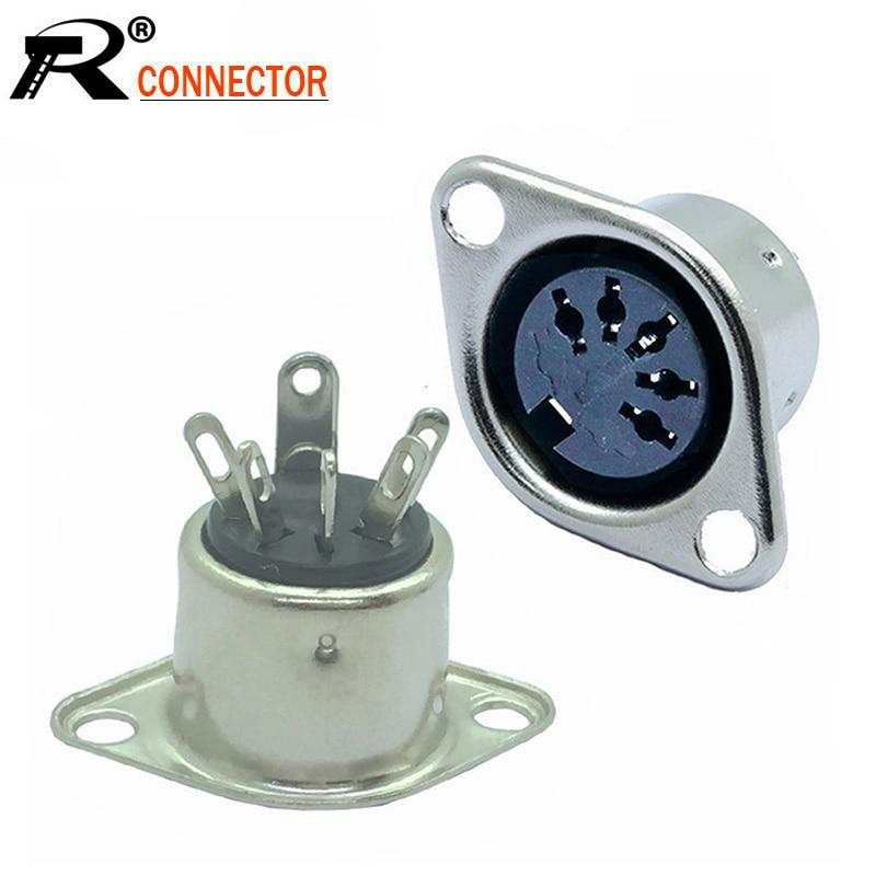 10pcs/lot 5 PIN DIN Panel Mount 5 Pole DIN Female Jack Socket Solder Metal DIN Chassis Wire Connector