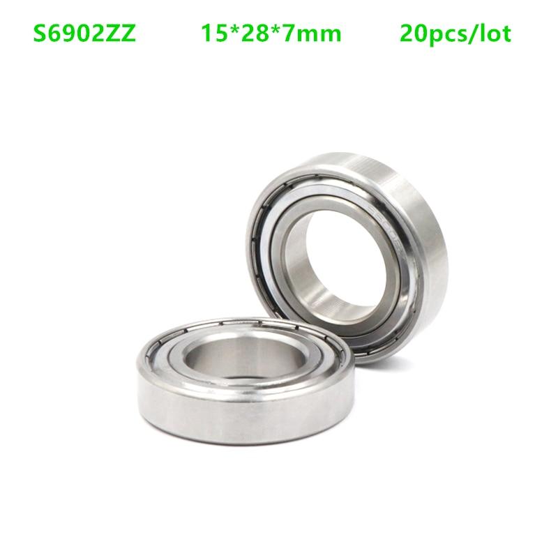 20 шт./лот ABEC-5 S6902ZZ S6902 ZZ Подшипники 15x28x7 мм из нержавеющей стали глубокий шаровой подшипник экранированный 15*28*7 6902 6902ZZ