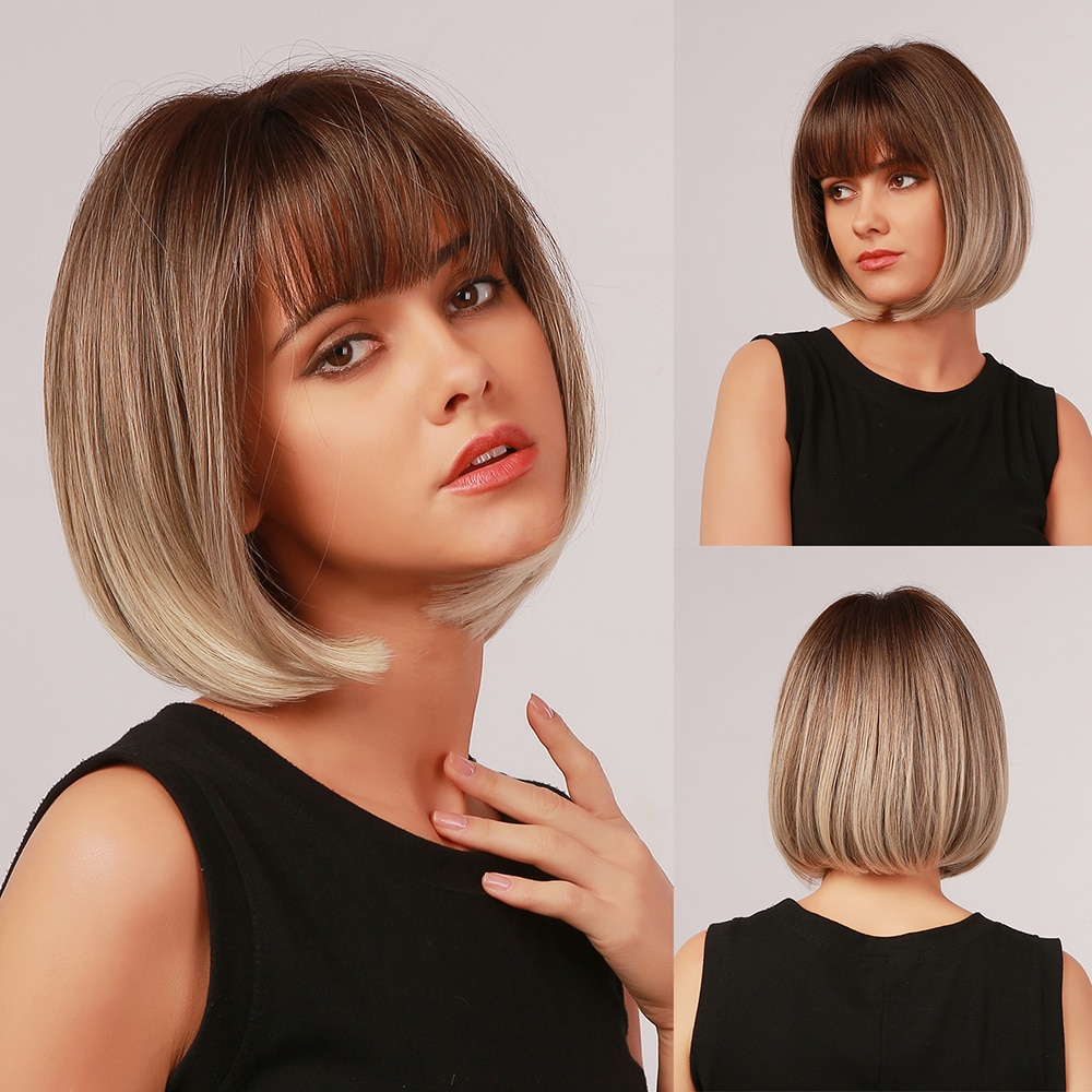 La silphide-شعر مستعار صناعي قصير وناعم مع هامش ، شعر من الألياف بدرجة حرارة عالية ، بني ، أشقر مظلل ، للنساء
