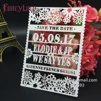 30pcs hot flower pearl paper laser cutting wedding save the date cards and lace invitation cards can be customized free shipping