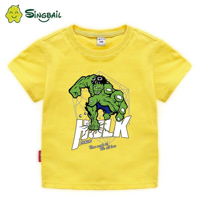 2020, camisetas de manga corta de verano para niños y bebés de dibujos animados de Hulk, camisetas casuales de algodón para niñas, ropa de moda para niños, camisetas