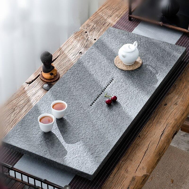 الصينية كاملة صينية الشاي ل الكونغفو طقم شاي الحجر الأسود الشاي قارب تصريف المياه منفذ الثقيلة حجر طاولة شاي متعددة حجم