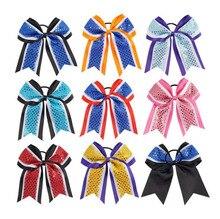 8 inch Three Layers Grosgrain Ribbon Hair Tie Cheerleading Bows Elastic Hair Band Striped Patchwork Girls Bows Hair Accessories